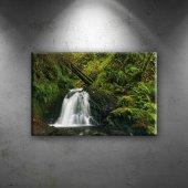 Doğa, Şelale Ve Yeşil Manzara Dekoratif Canvas Tablo