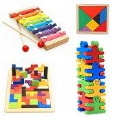 Algı Oyunları Ahşap Tetris Denge Oyunu 8 Notalı Selefon Ksilifon Ve 7 Parça Tangram Hediyeli