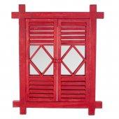 Zigzag Home Kırmızı Ahşap Duvar Aynası 62x3x76 Cm