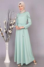 37e3ee6287572 Omzu İnci Detaylı Tesettür Elbise Modelleri