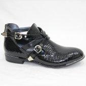 Siyah Rugan 5001 Krokodil Tokalı Fermuarlı Yarım Ayakkabı