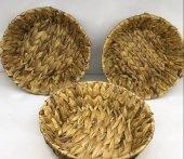 Dekoratif Hasır Yuvarlak Çok Amaçlı (Ekmek,toka)sepeti (24x24cm)