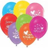 Buket Balon Seni Seviyorum Baskılı 100lü Paket