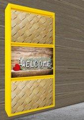 Evbox 3lü Welcome Baskılı Metal Ayakkabılık Fa 021