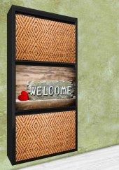 Evbox 3lü Welcome Baskılı Metal Ayakkabılık Fa 022