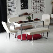 Evform Oval Taytüyü Banklı Masa Takımı Yemek Seti Krem