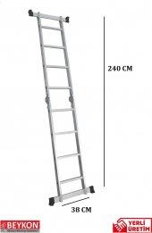 4+4 Basamaklı Alüminyum Katlanabilir Merdiven