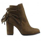 Park Moda St882 Haki Günlük 8,5 Cm Topuk Bayan Bot Ayakkabı