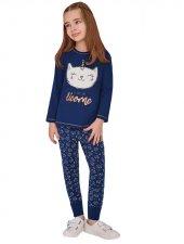 Rolypoly Kız Garson Çocuk Kombin Lacivert Pijama Takımı 1368