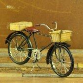 Misiny Nostaljik Siyah Klasik Sepetli Metal Bisiklet Maketi