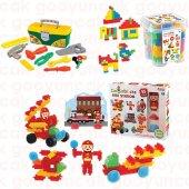 Eğitici 3in1set Maxi Tiktak Lego+kaktüs Bloklar 55prç İtfaiye Oyunu+power Kilitli Çantalı Tamir Seti