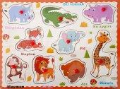 Ahşap Tutmalı Çivili Eğitici Safari Hayvanlar Yapboz Okul Öncesi Eğitim Puzzle