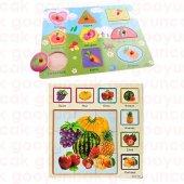 2 İn1 Set Meyve+geometrik Şekil Çivili Puzzle Okul Öncesi Oyuncak Bultak Eğitici Ahşap Tutmalı Puzzl