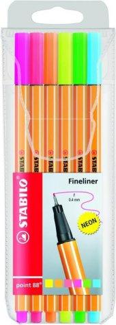 Stabilo Point 88 İnce Uçlu Keçeli Kalem Seti 6 Renk Neon Paket