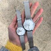 Gümüş Renk Hasır Kordon Sevgili Çift Kol Saatleri Tp07