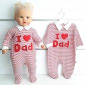 Kırmızı I Love Dad Yakalı Tulum
