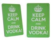 Keep Calm And Drink Vodka Retro Metal Dekoratif Büyük Boy Tabela