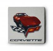 1973 Chevrolet Corvette Baskılı Doğal Limra Taşı Bardak Altlığı