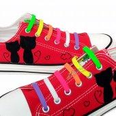 Renkli Silikon Ayakkabı Bağcığı 7+7 100 Stok Bitirme Kampanyası