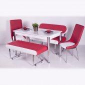 Bank Sandalye Masa Mutfak Yemek Takımı Şık Deri
