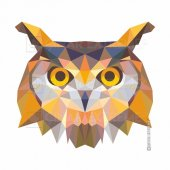 Polygonal Üçgen Tasarımlı Baykuş Sticker Çınarextreme