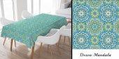 Masa Örtüsü Mandala Desen Sıvı Geçirmez Kumaş Görünümlü