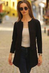Kadın Siyah Beli Dikişli Uzun Ceket