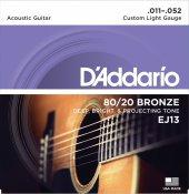 Daddario Ej13 Akustik Gitar Teli Bronze (11 52)
