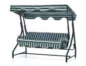 Erinöz Bahçe Balkon Teras Salıncağı 3 Kişilik, 200 Cm, Çap 51 Lik Sabit Salıncak Yeşil Renk (Standart Kumaş)yeşil Beyaz