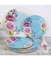 8 Parça Spatulalı Mavi Çiçekli Pasta Takımı
