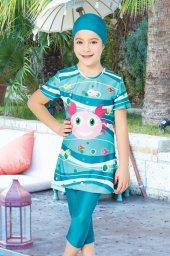 Deniz Dünyası Çocuk Kısa Kollu Yarım Kapalı Mayo 5032 Yeşil