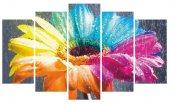 Renkli Çiçek Dekoratif 5 Parça Mdf Tablo