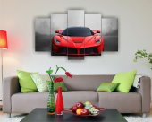 Kırmızı Spor Araba Dekoratif 5 Parça Mdf Tablo