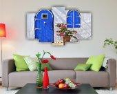 Mavi Kapılı Çiçekli Ev Dekoratif 5 Parça Mdf Tablo