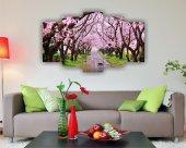 Pembe Yapraklı Ağaçlar Yol Manzara Dekoratif 5 Parça Mdf Tablo