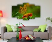 Kelebek Çiçek Dekoratif 5 Parça Mdf Tablo