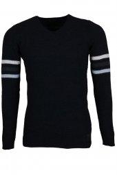 Erkek Kazak Slim Fit V Yaka Siyah Rar00392