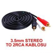3.5mm Stereo To 2rca Kablosu Aux Tos Ses 1.5 Metre Sound Audıo E