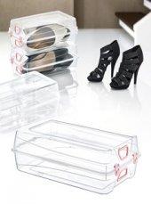 Bayan Ayakkabı Saklama Kutusu Kilitli 33x20x11 Cm 10 Adet