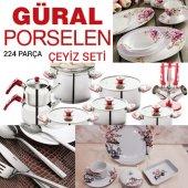 Güral Porselen 224 Parça Çeyiz Seti Yemek Takımı Kaşık