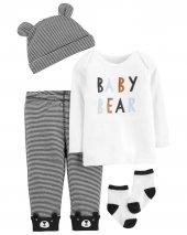 Carters Erkek Bebek 4lü Mesajlı Üst, Kulaklı Bere, Pantolon Ve Çorap Set