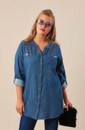 Femina Boncuk Ve Taş İşleme Detaylı Büyük Beden Gömlek 39186 Lacivert Haki Gri