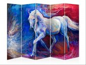Beyaz At Beş Kanat Kanvas Paravan