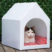 Maskot Kedi Köpek Kulübesi Beyaz Renk