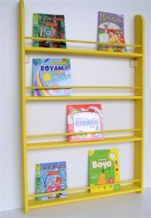 çocuk Odası Ahşap Soft Montessori Kitaplık Sarı...