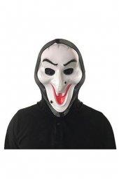 Halloween Pelerinli Beyaz Cadı Maske Yüz Maskesi Cadı Yüzü Maske