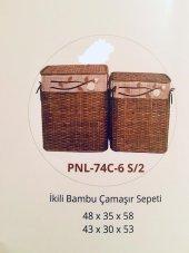 Homex İkili Kahve Bambu Hasır Sepetler 48x35x58cm 43x30x53cm