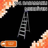 Metal Galvaniz Merdiven 5+1 Basamaklı Hafif Dayanıklı Malzeme