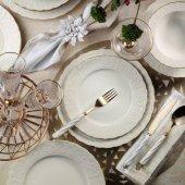 Kütahya Porselen Bone Başak Altın Fileli 24 Parça 6 Kişilik Yemek Takımı