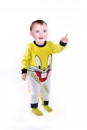 Bebek Tulumu Tavşan Baskılı Bebek Kıyafeti